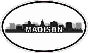 Oval Madison Skyline Sticker