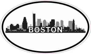 Oval Boston Skyline Sticker