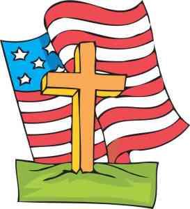 Waving American Flag Cross Sticker