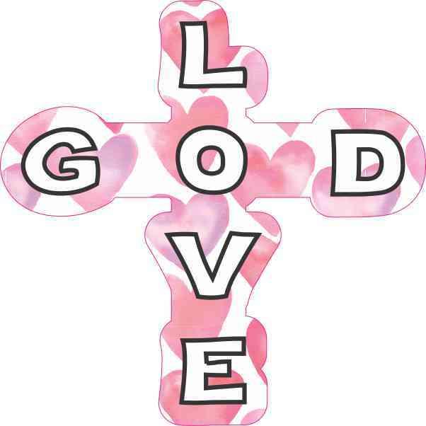 Hearts God Love Cross Sticker