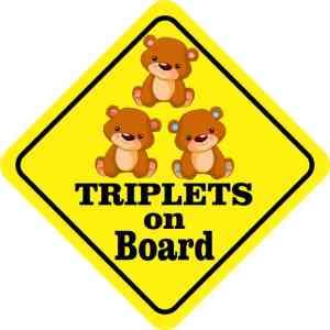 Two Girls One Boy Triplets on Board Magnet