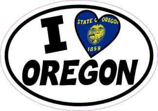 Oval I Love Oregon Sticker