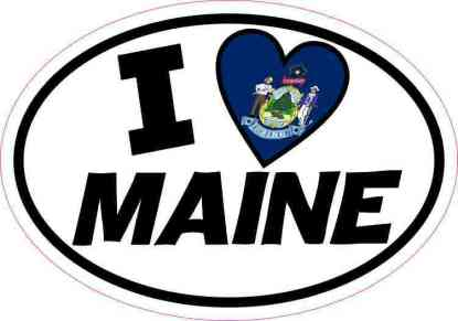 Oval I Love Maine Sticker