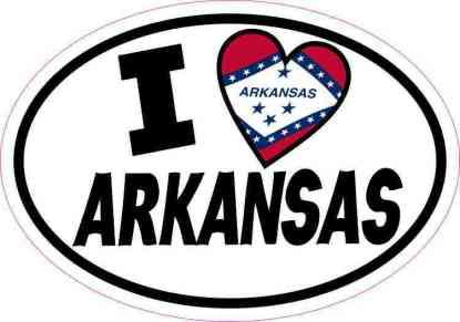 Oval I Love Arkansas Sticker