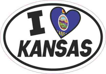 Oval I Love Kansas Sticker