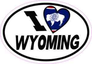 Oval I Love Wyoming Sticker