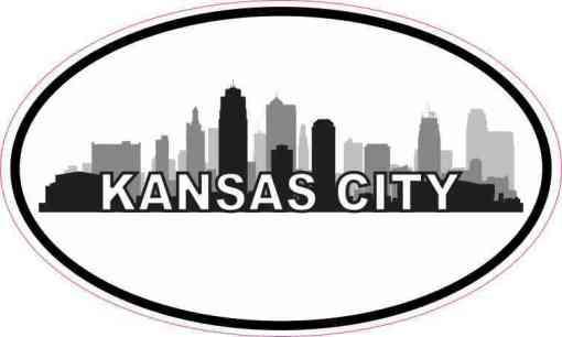 Oval Kansas City Skyline Sticker