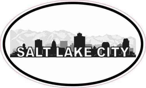 Oval Salt Lake City Skyline Sticker