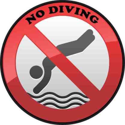 No Diving Permanent Vinyl Sticker