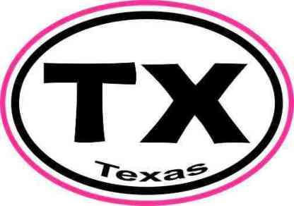 Pink Border Oval TX Texas Sticker
