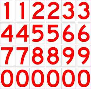 Red Mailbox Number Stickers