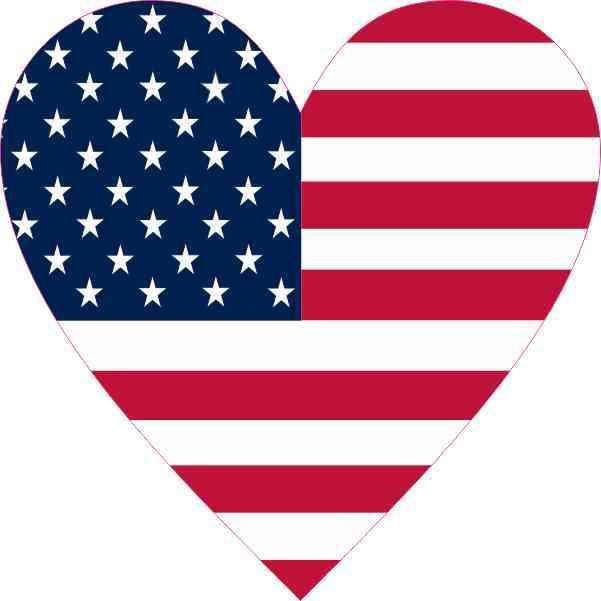 American Flag Heart Sticker