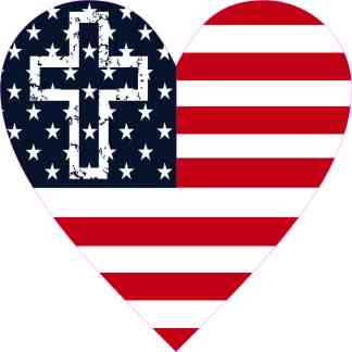 Cross American Flag Heart Sticker