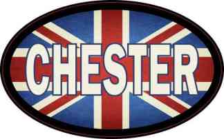 Oval UK Flag Chester Sticker