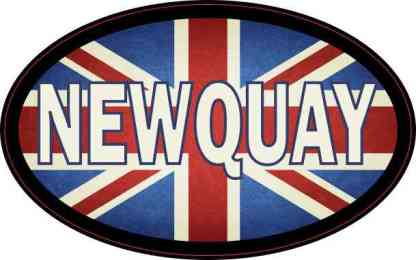 Oval UK Flag Newquay Sticker