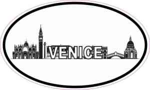Oval Venice Skyline Sticker