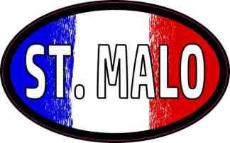 Oval French Flag St. Malo Sticker