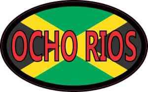 Oval Jamaican Flag Ocho Rios Sticker