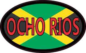 Oval Jamaican Flag Ocho Rios Sticker