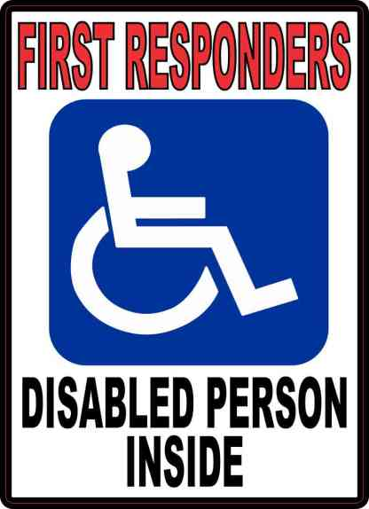 First Responders Disabled Person Inside Sticker