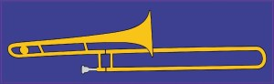 Blue Trombone Bumper Sticker