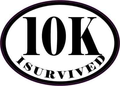 Oval I Survived 10K Sticker