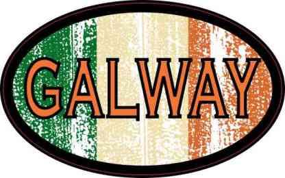Oval Irish Flag Galway Sticker