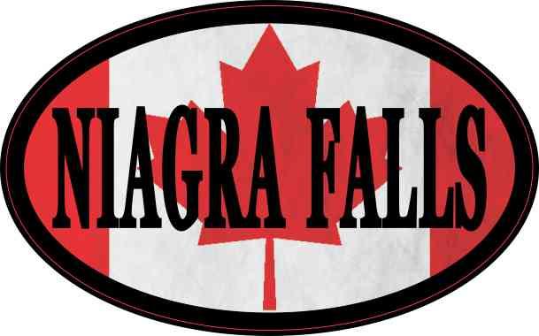 Oval Canadian Flag Niagara Falls Sticker