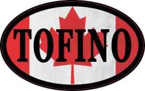 Oval Canadian Flag Tofino Sticker
