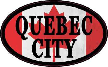 Oval Canadian Flag Quebec City Sticker