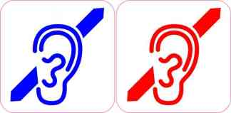 Blue and Red Deaf Symbol Stickers
