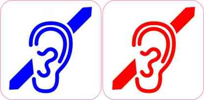 Blue and Red Deaf Symbol Magnet