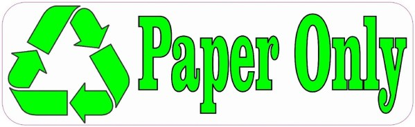 Paper Only Recycle Sticker