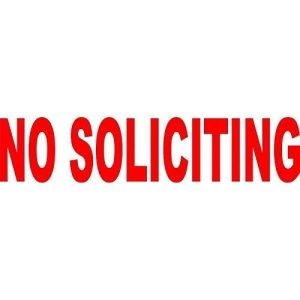 Red Die Cut No Soliciting Sticker