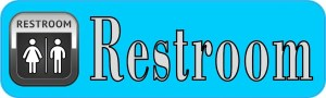 Blue Unisex Restroom Sticker