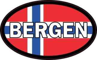 Oval Norwegian Flag Bergen Sticker