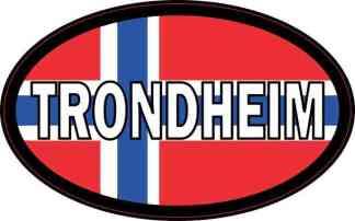 Oval Norwegian Flag Trondheim Sticker