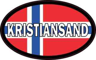 Oval Norwegian Flag Kristiansand Sticker