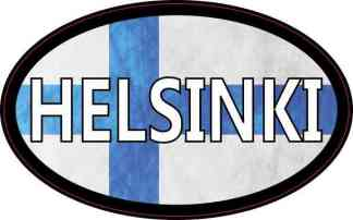 Oval Finnish Flag Helsinki Sticker