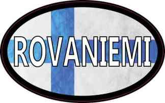 Oval Finnish Flag Rovaniemi Sticker