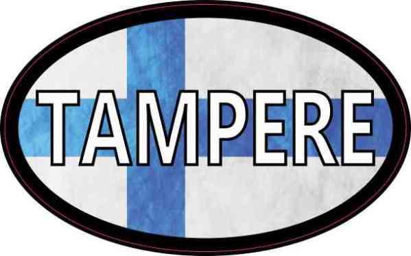 Oval Finnish Flag Tampere Sticker