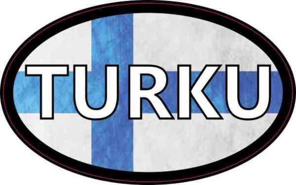Oval Finnish Flag Turku Sticker
