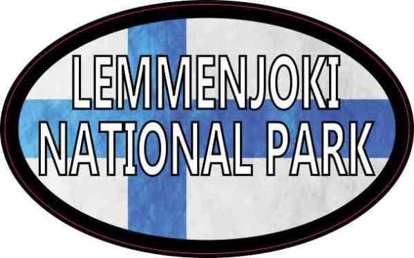 Oval Finnish Flag Lemmenjoki National Park Sticker