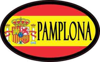 Oval Spanish Flag Pamplona Sticker