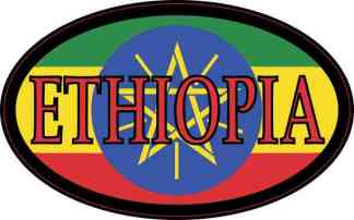 Flag Oval Ethiopia Sticker