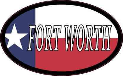 Oval Texan Flag Fort Worth Sticker