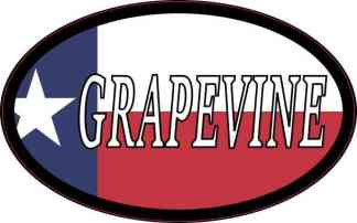 Oval Texan Flag Grapevine Sticker