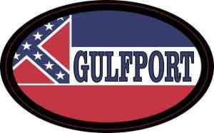 Oval Mississippi Flag Gulfport Sticker