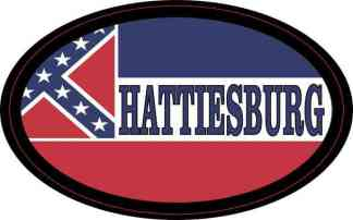 Oval Mississippi Flag Hattiesburg Sticker