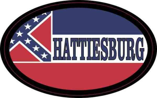 Oval Mississippi Flag Hattiesburg Sticker
